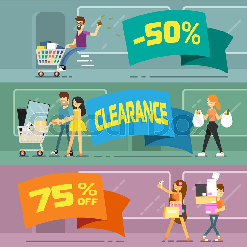 800x800 Sale Banners With Shopping People Vector Illustration. Price