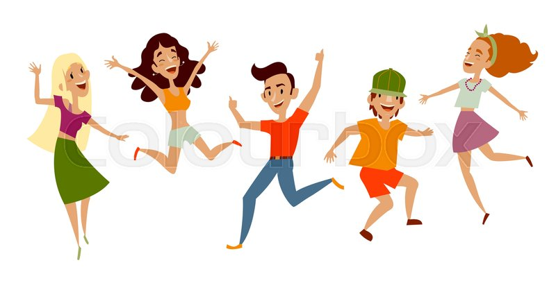 800x405 Set Of Young People, Teenagers Dancing, Having Fun, Cartoon Vector