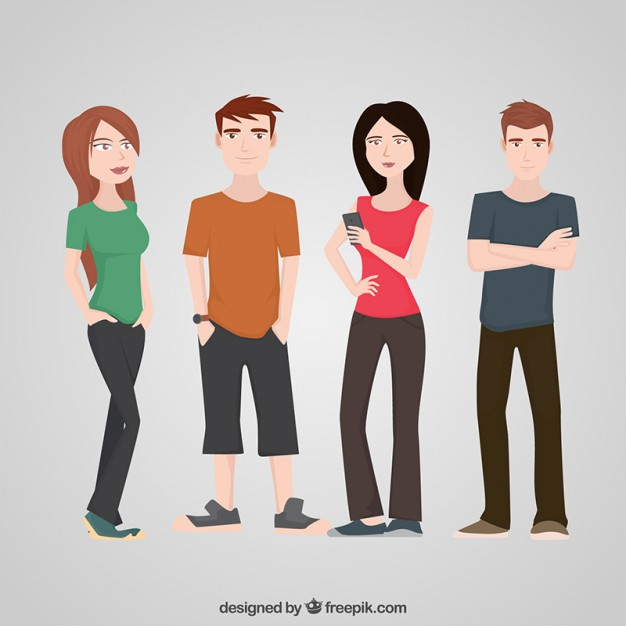 626x626 Teenagers Character Flat Set Vector Free Download