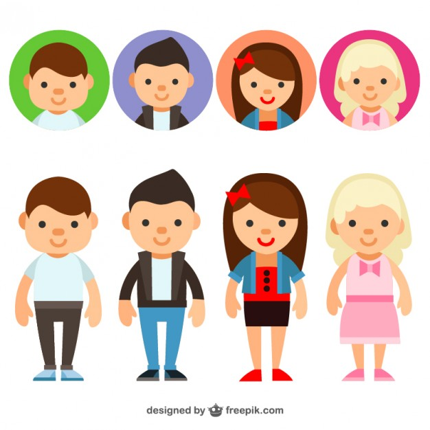 626x626 Young People Avatars Vector Free Download