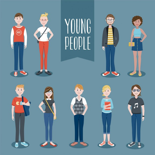 626x626 Young People Set Vector Free Download