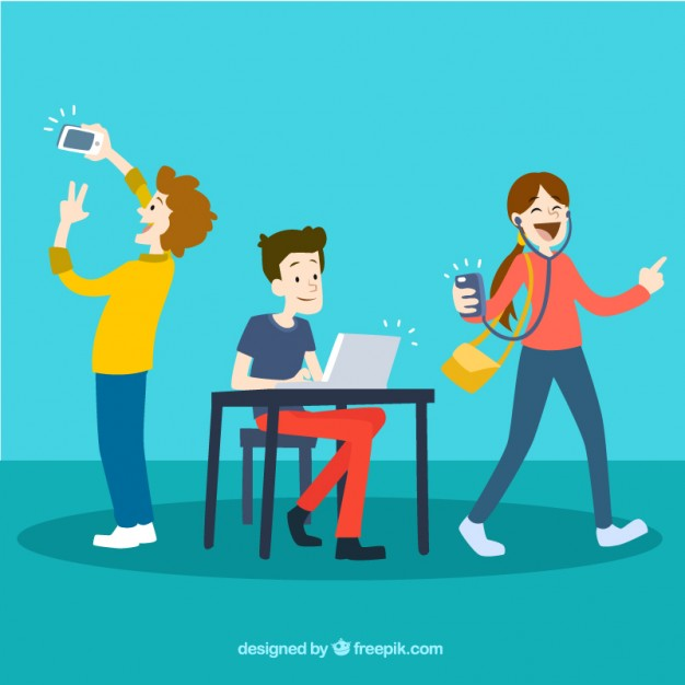 626x626 Young People Using Technology Vector Free Download