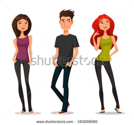 450x420 Cute Cartoon Illustration Of Young People