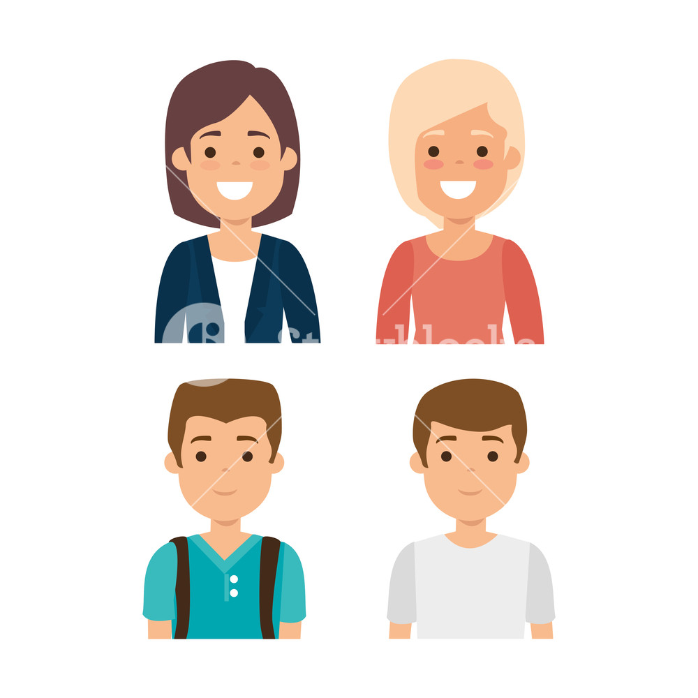 1000x1000 Group Of Young People Vector Illustration Design Royalty Free
