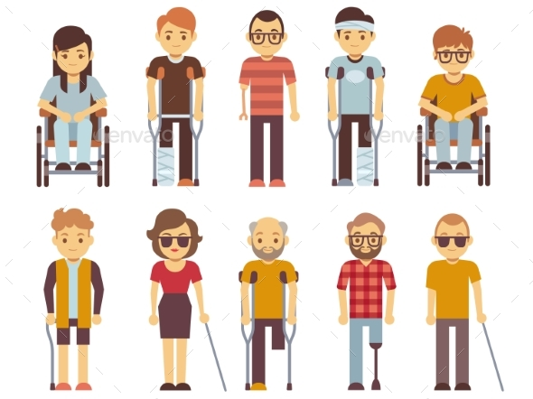 590x442 Disabled People Vector Set. Old And Young Invalid By Microvone