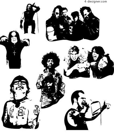 460x547 4 Designer 7 Black And White Rock Youth Vector Material