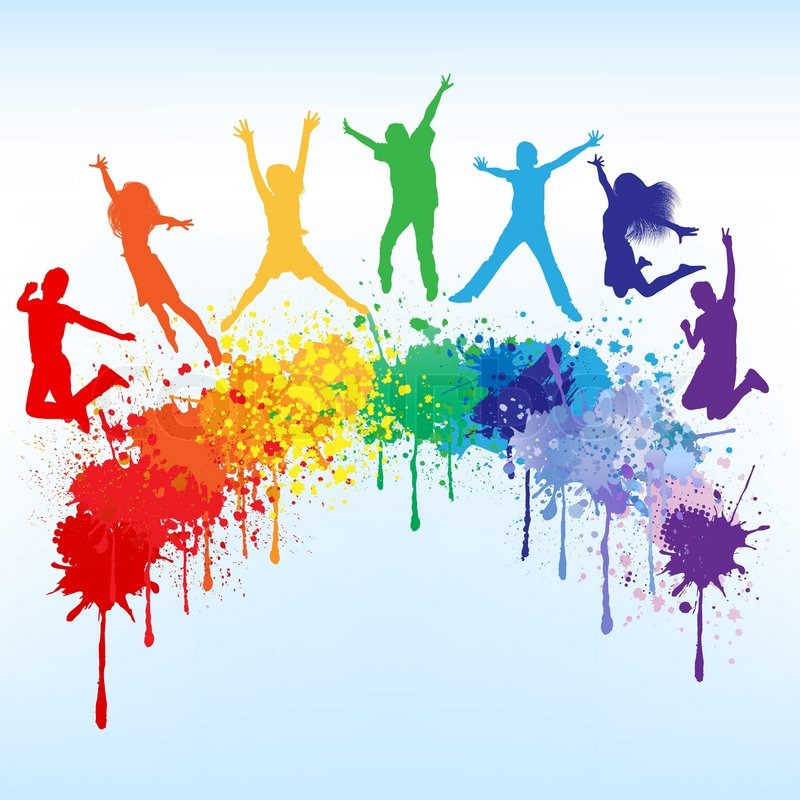 800x800 Colorful Bright Ink Splashes And Kids Jumping On Blue Background