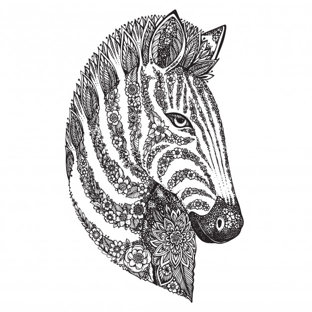 626x626 Hand Drawn Graphic Ornate Floral Zebra Head Vector Premium Download