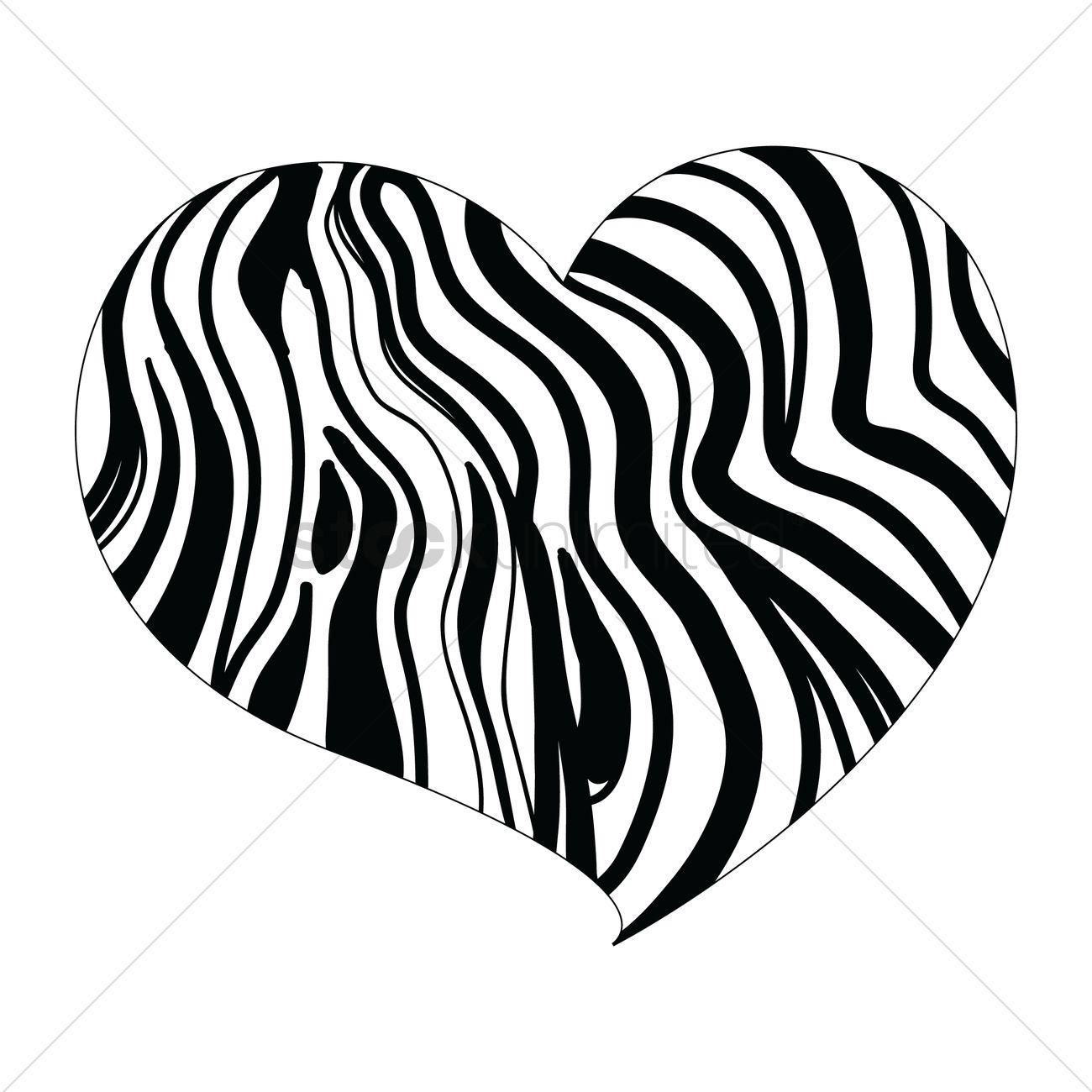 1300x1300 Heart Design With Zebra Print Vector Image
