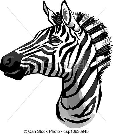 397x470 Zebra Portrait. Vector Illustration Of A Zebra Head.