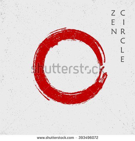 450x470 Zen Red Circle, Vector Body Art Circle Symbol