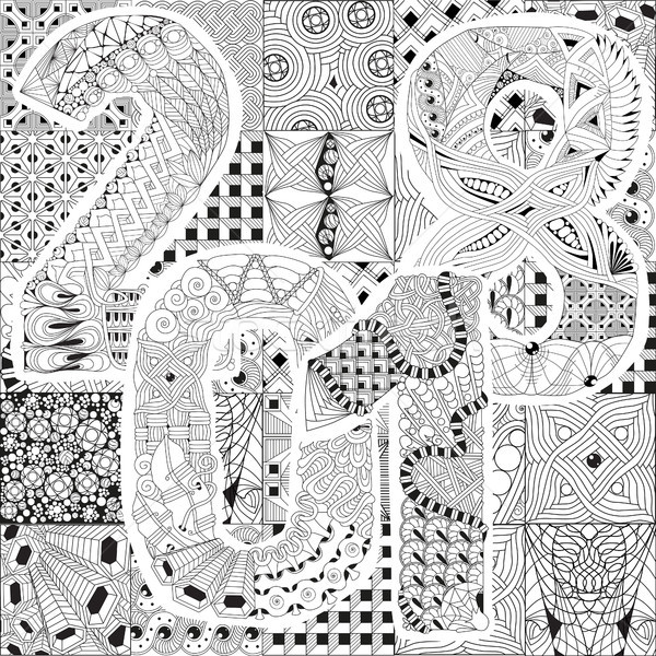 600x600 Hand Drawn Zentangle Background For Coloring Page. Number 2018
