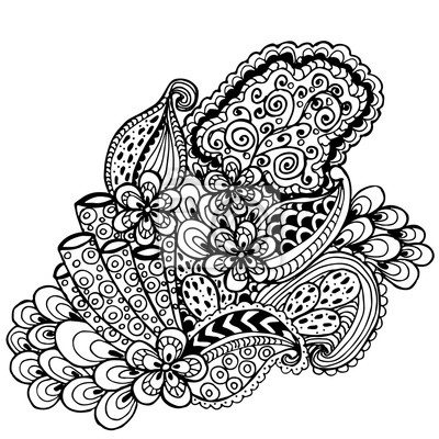 400x400 Hand Drawn Zentangle Vector Pattern On Color Background. Use