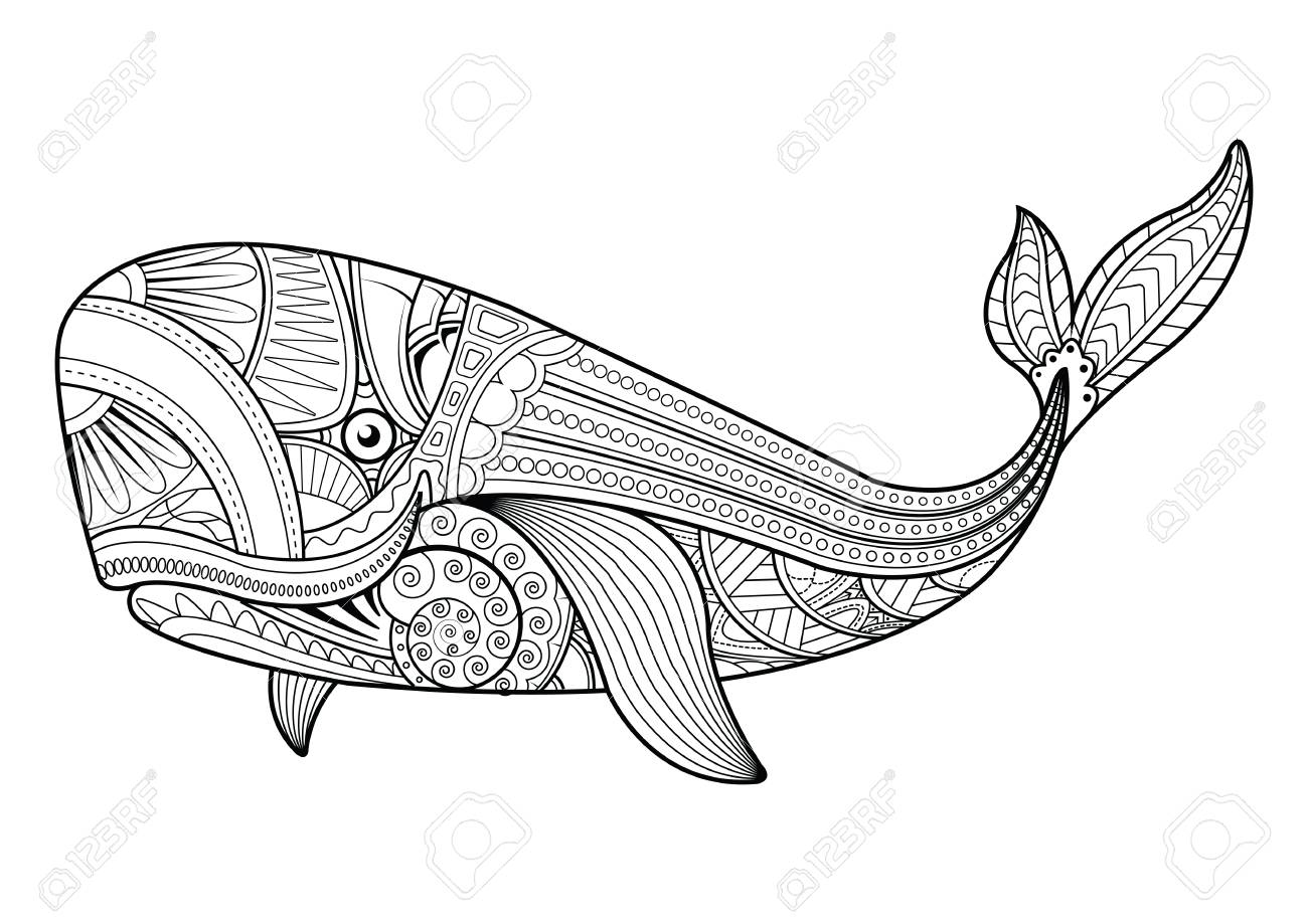 1300x919 Pattern Vector Whale For Adult Anti Stress Coloring Pages On