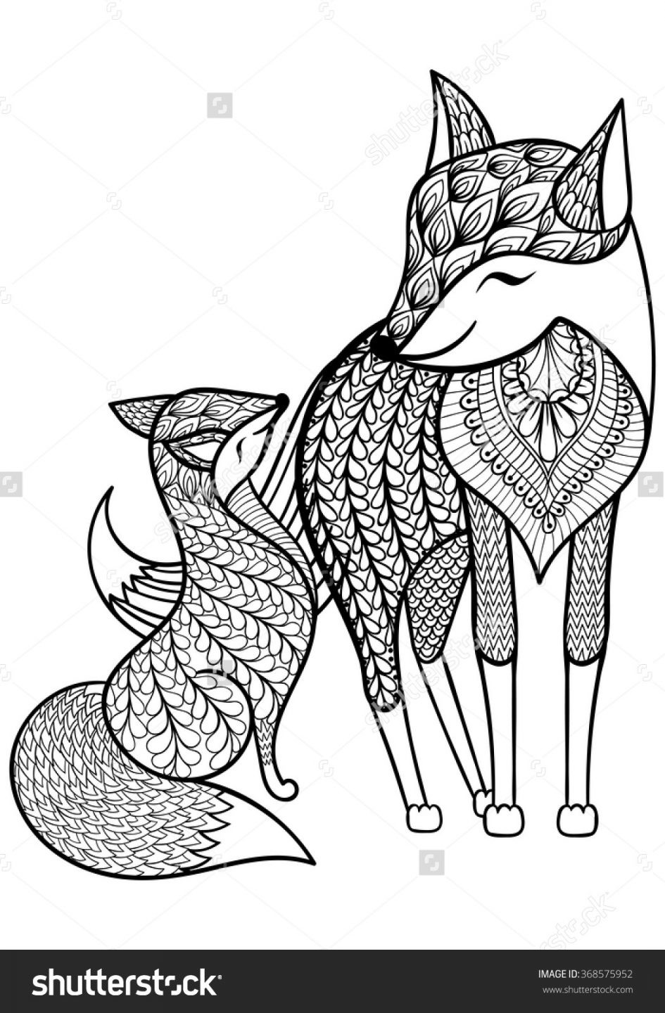 945x1440 Scarce Baby Fox Coloring Pages Imposing Design Zentangle Vector