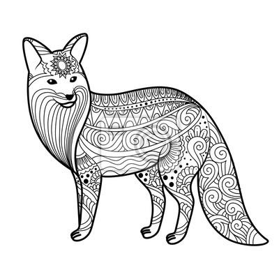 400x400 Stilisierte Fuchs In Doodles. Musterstil Zentangle. Vector Skizze