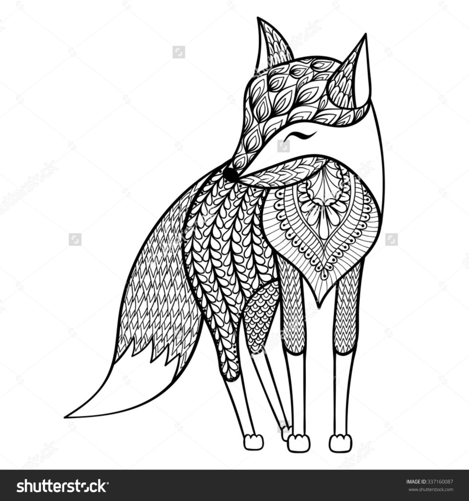 960x1024 Zentangle Vector Happy Fox For Adult Anti Stress Coloring Pages