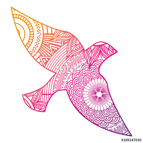 500x500 Hand Drawn For Adult Coloring Pages With Bird Zentangle Vector
