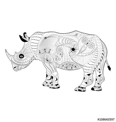 475x500 Zentangle Vector Rhinoceros. Coloring