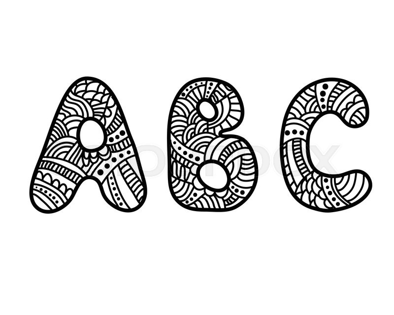 800x640 Doodle Hand Drawn Vector Alphabet. Abc Letters. Zentangle Stock