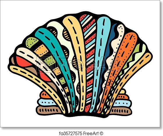 560x470 Free Art Print Of Seashell Line Art. Seashell. Zentangle Vector