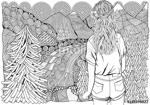 500x350 Girl With Long Hair In The Forest. Fir Trees, River And Mountain