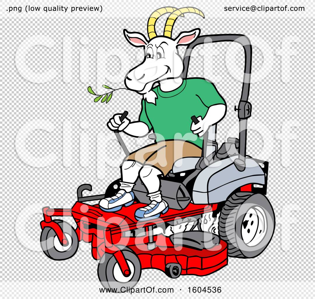 1080x1024 Clipart Of A Cartoon Goat On A Zero Turn Lawn Mower