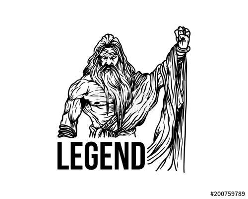 500x400 Strong Man Like Zeus Or Spartan Hand Drawn Symbol Legend Logo