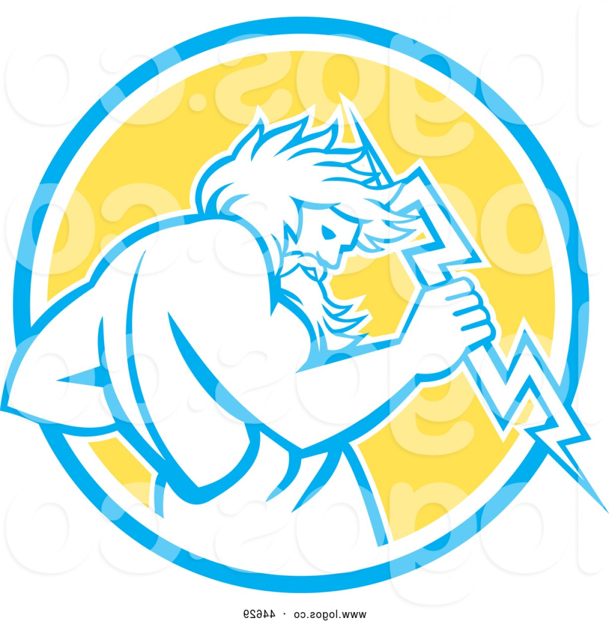1228x1252 Vector Logo Of Retro Zeus Carrying Electric Thunder Bolt Blue