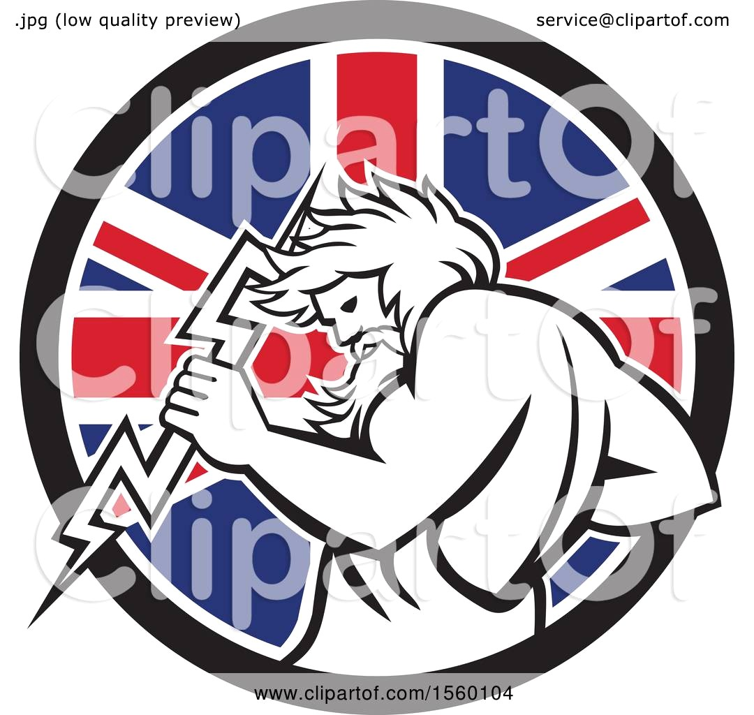 1080x1024 Clipart Of A Retro Zeus Holding Thunder Bolt In Union Jack Flag