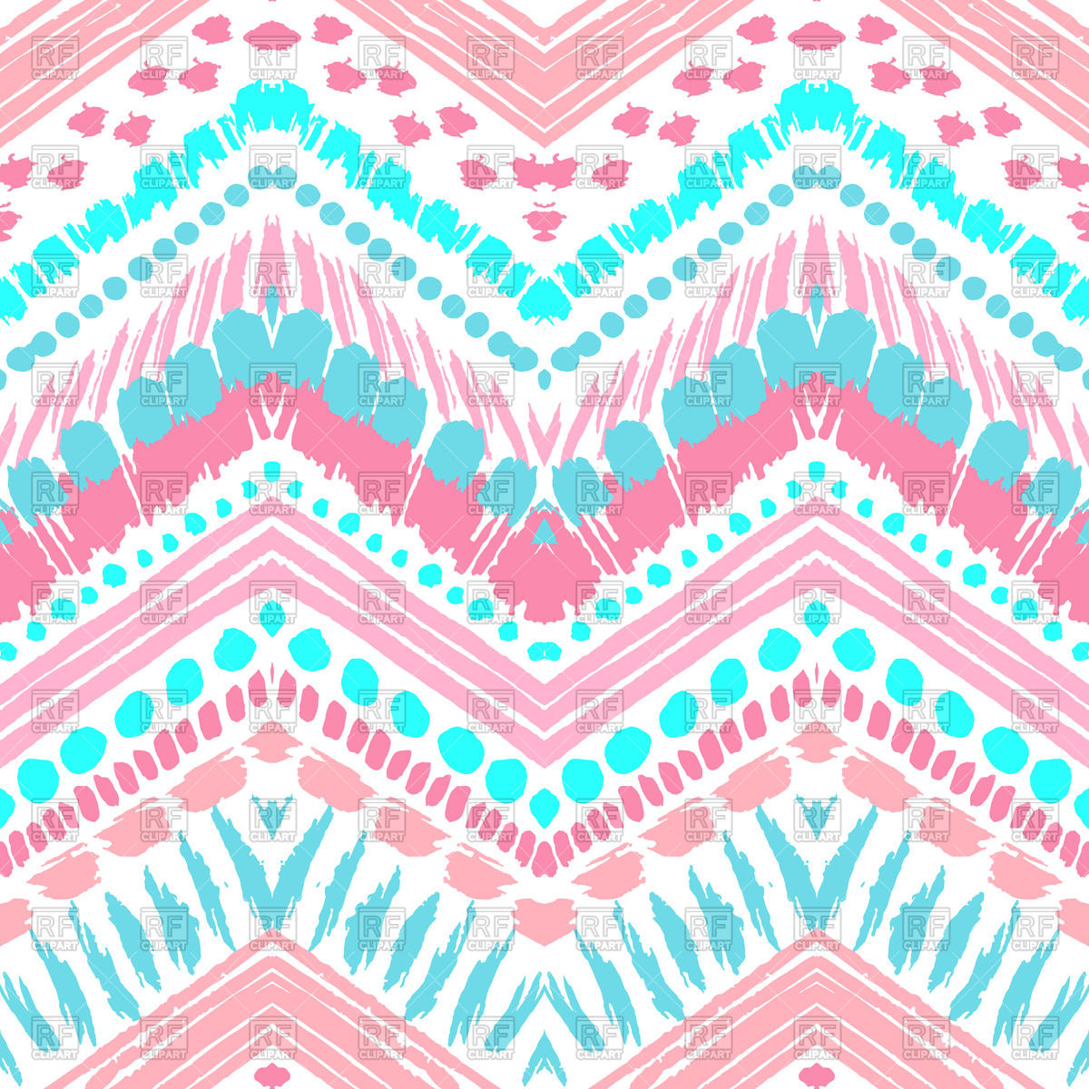 1200x1200 Hand Drawn Ethnic Pink Seamless Zigzag Pattern Vector Image