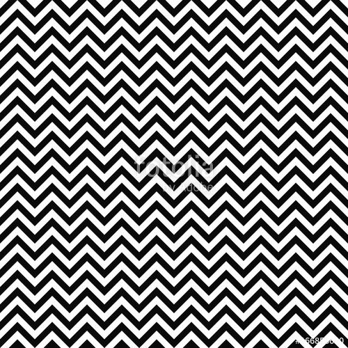 500x500 Vector Seamless Zigzag Pattern. Chevron Texture. Black And White