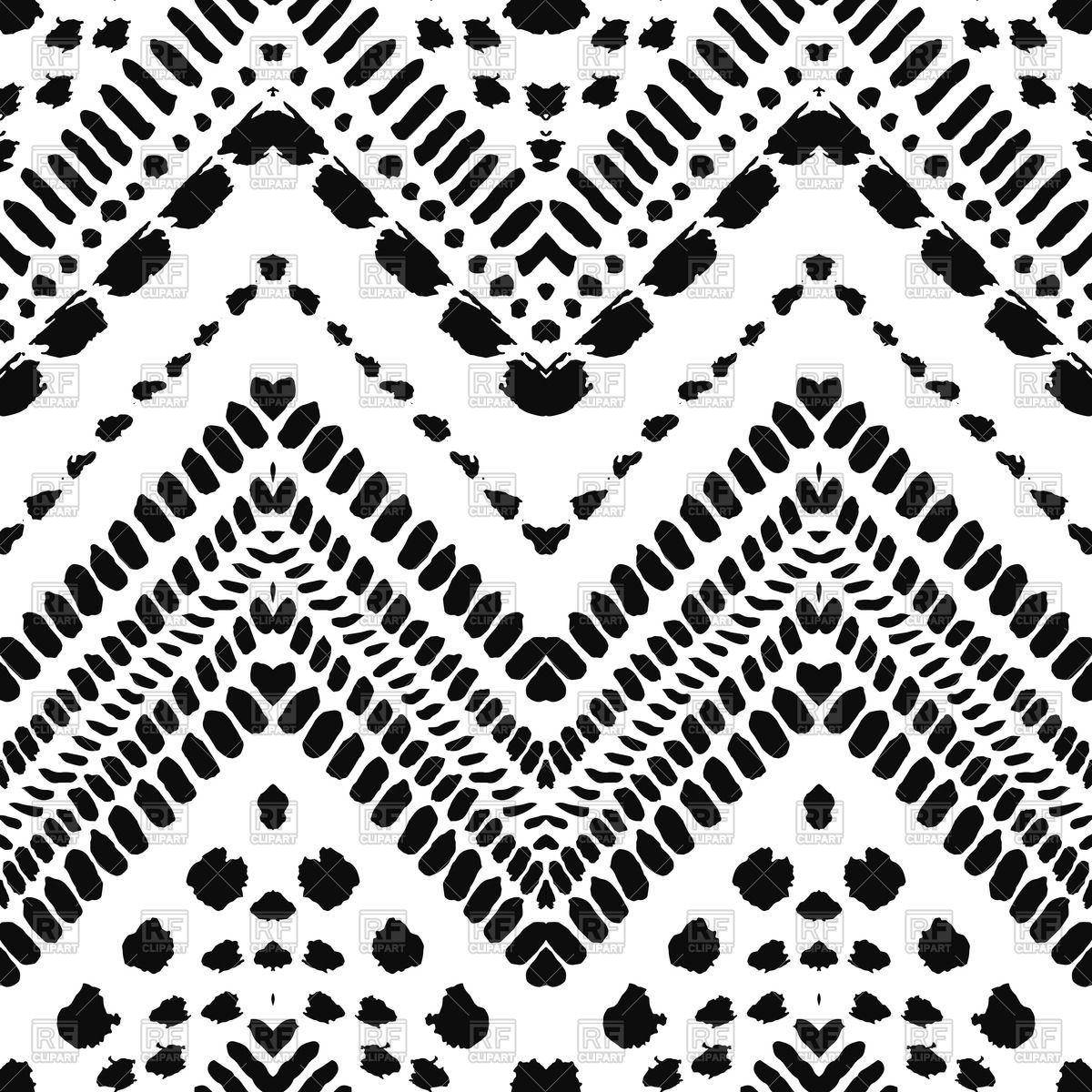 1200x1200 Black And White Ethnic Seamless Zigzag Pattern In Hand Drawn Style