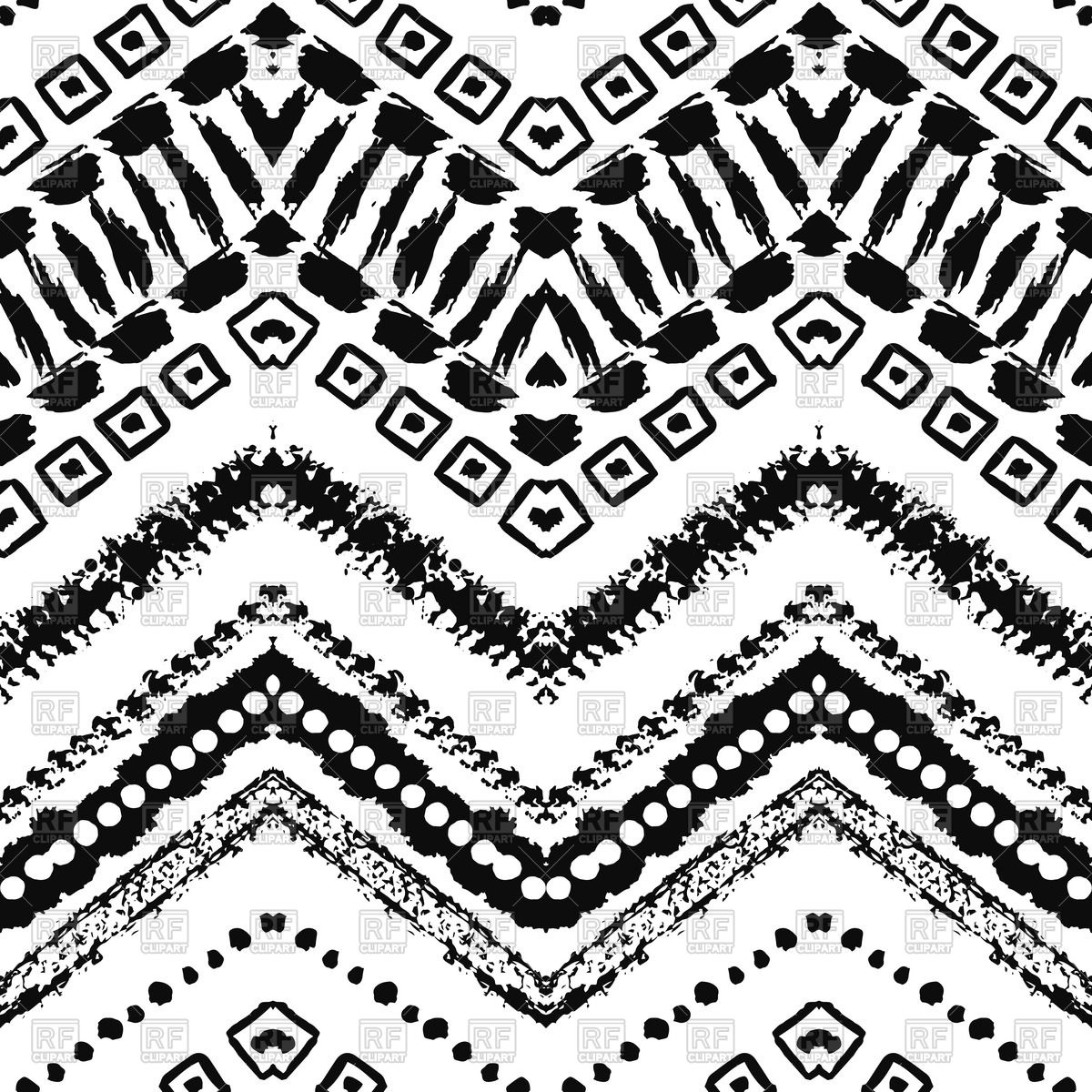 1200x1200 Hand Drawn Ethnic Black And White Seamless Zigzag Pattern Vector