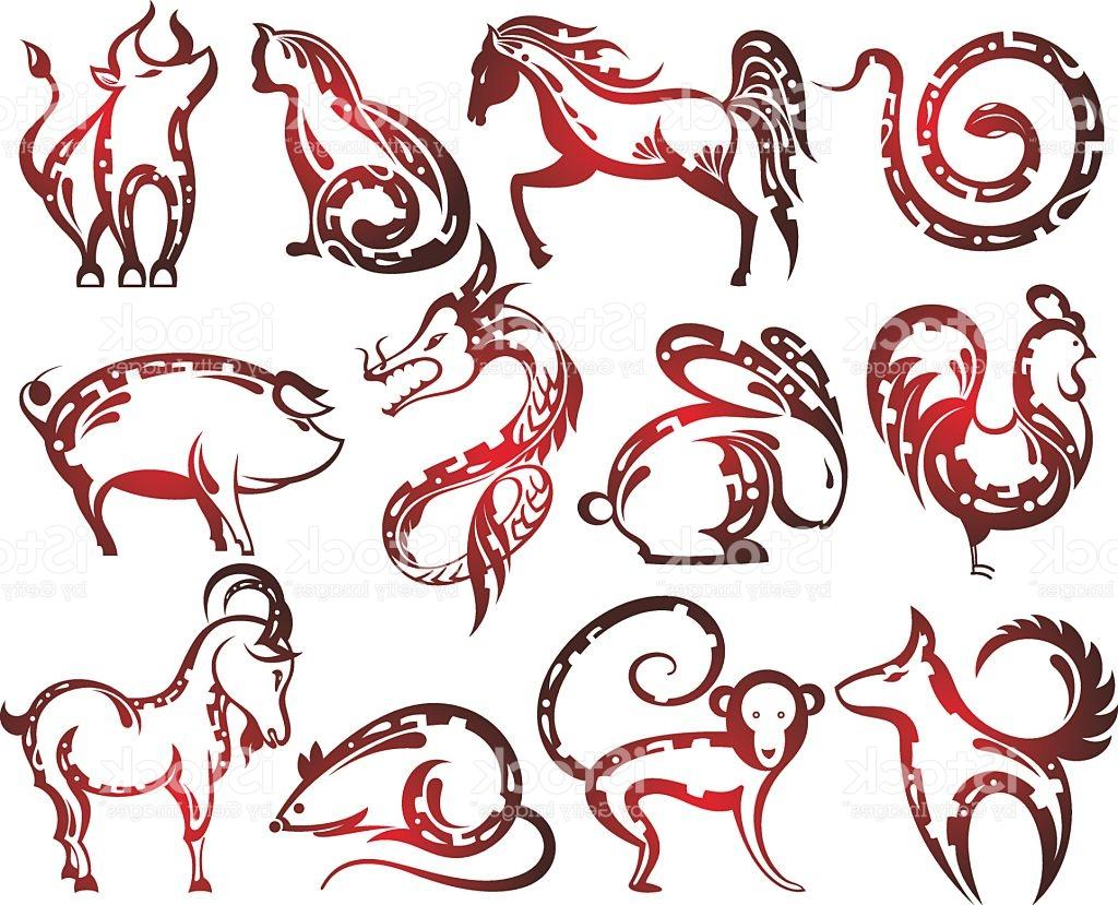 1024x829 Unique Chinese Zodiac Signs Vector Drawing