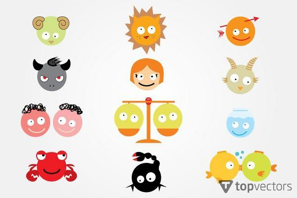 600x400 Funny Astrology Signs Vector Illustration 123freevectors