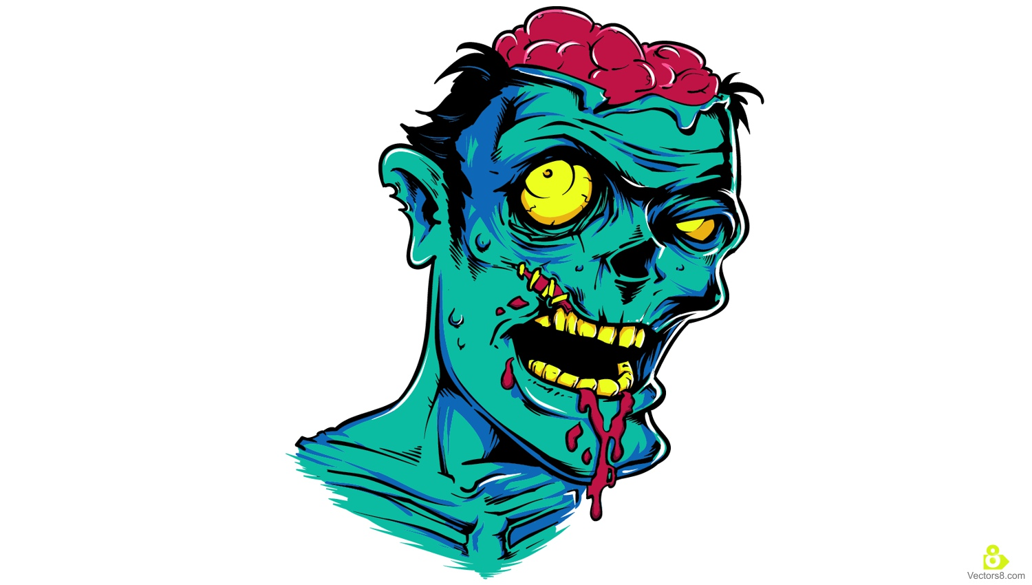 1500x850 Scary Zombie Face Free Vector Amp Clipart Design