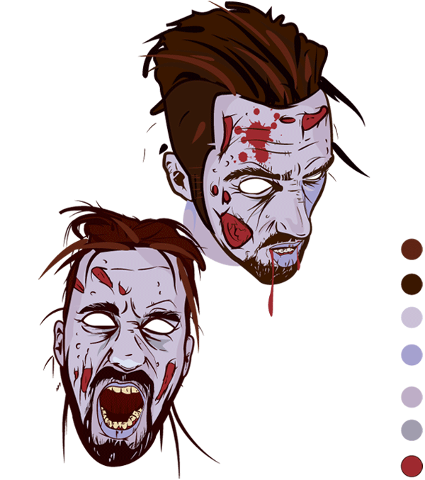 600x677 Scary Zombie Face Vector Graphics 123freevectors