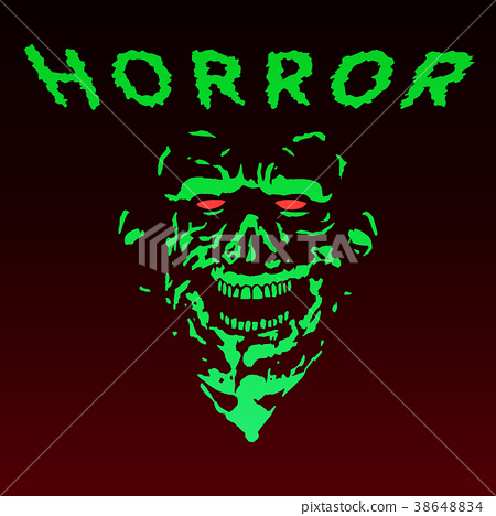 450x468 Spooky Green Zombie Face. Vector Illustration.