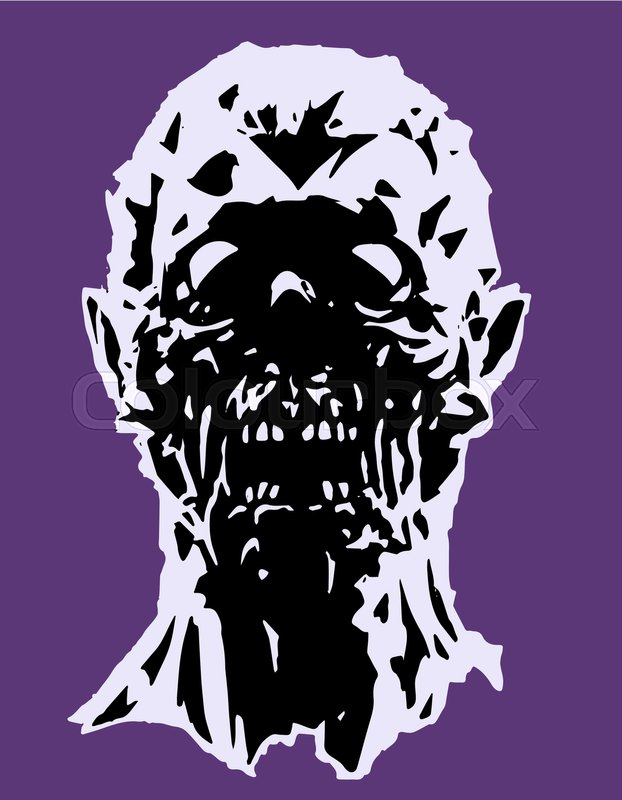 622x800 The Head Of The Screaming Zombie Character. Vector Illustration
