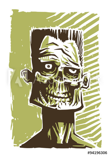 350x500 Vector Zombie Face Green. Image Of The Face Zombie In A Green Tone