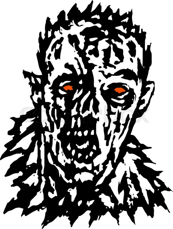 603x800 Wrath Of The Zombie. Vector Illustration. Black And White Colors