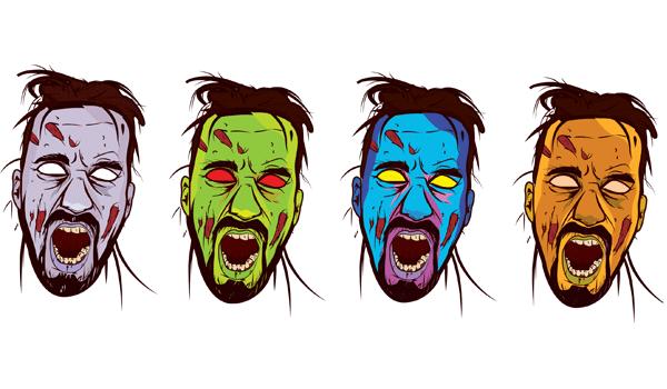 600x350 Zombie Face Color Vector 123freevectors
