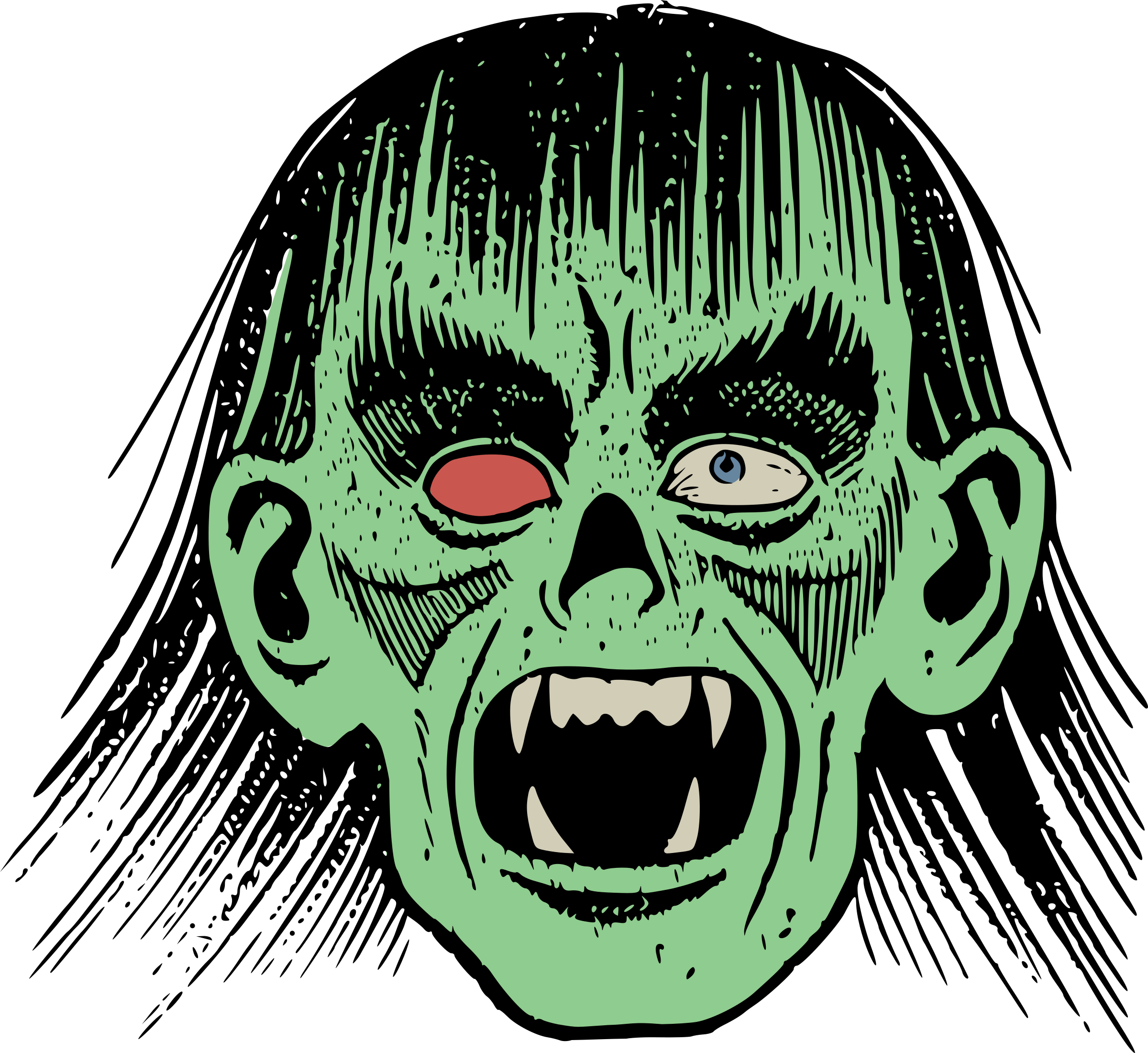 2400x2201 Zombie Face Vector Clipart Image