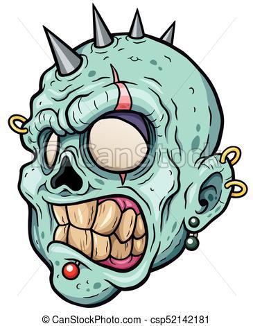 365x470 Zombies. Vector Illustration Of Cartoon Zombie Face.
