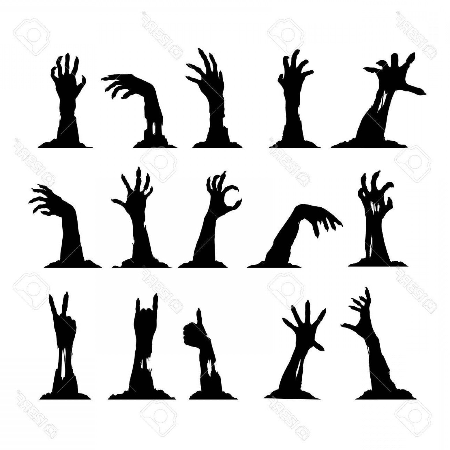 1560x1560 Photostock Vector Set Of Silhouettes Of Zombie Hands Collection