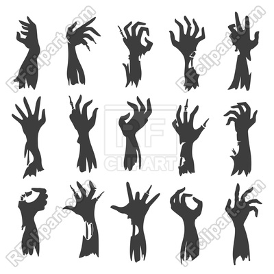400x400 Undead Zombie Hand Silhouettes Isolated On White Background Vector