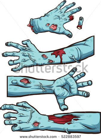 338x470 Zombie Hands. Vector Clip Art Illustration With Simple Gradients