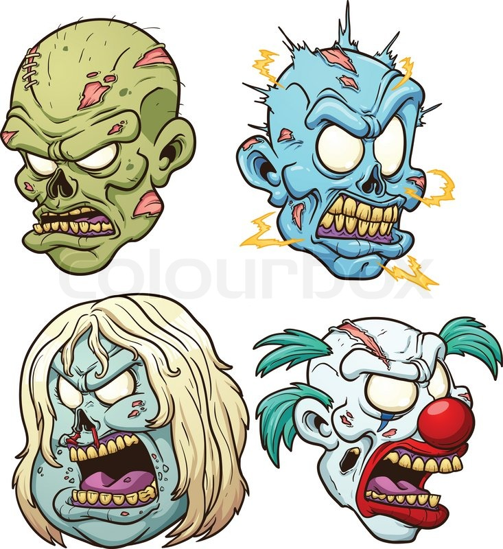 733x800 Cartoon Zombie Heads. Vector Clip Art Illustration With Simple