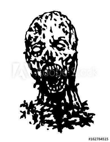 389x500 Cruel Zombie Head. Vector Illustration.